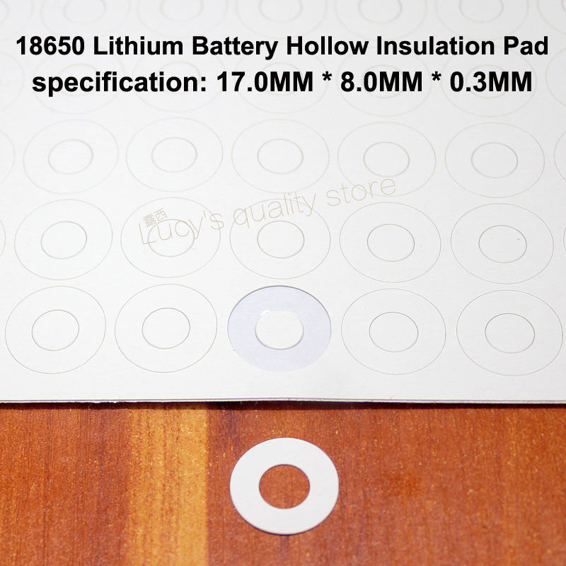 100pcs/lot 18650 Universal Battery Positive Hollow Insulation Gasket Flat Head Surface Mess 17*8*0.3mm