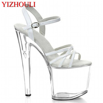 shoe White crystal sexy fashion sexy 17cm high-heeled shoes sandals 8 inch clear high heels platform