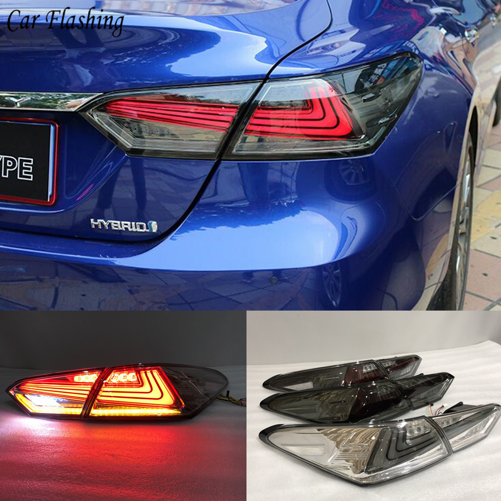 Car flashing 2PCS LED Rear light Fog lamp for Toyota camry 2017 2018 RS TYPE Tail Lights case Taillight DRL+Brake+Signal Stop-in Car Light Assembly from Automobiles & Motorcycles    1