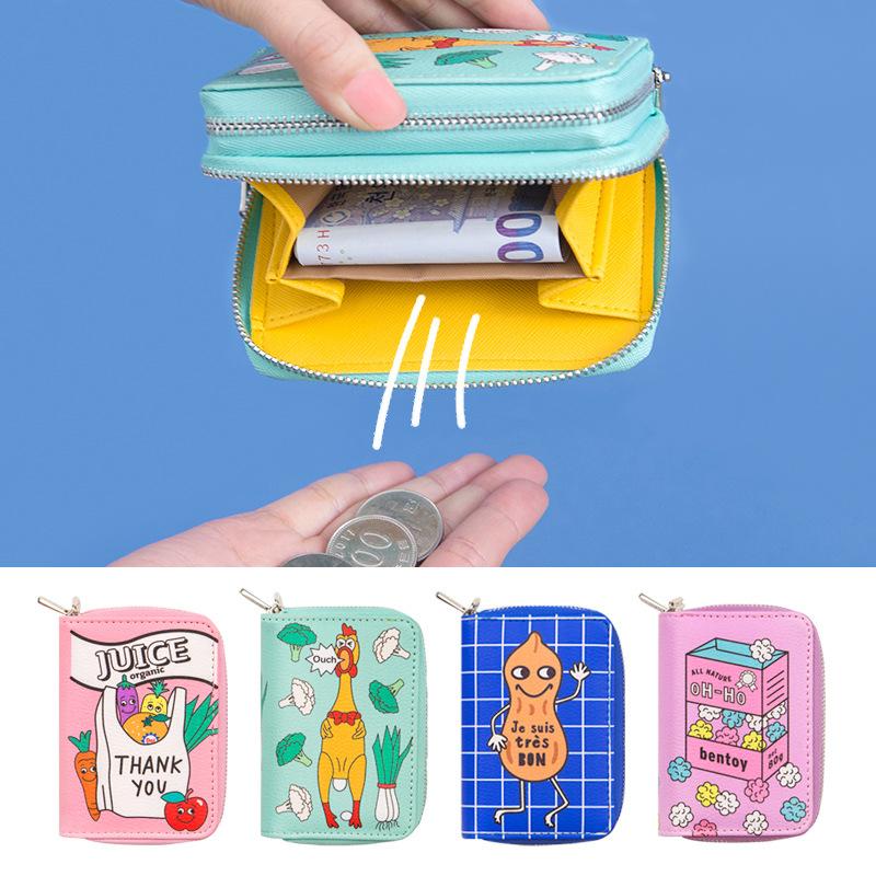 Cartoon Creative Women Short Leather Wallet Double Mini Clutch Money Purse Wallet Funny Credit Card Holders Coin Purse Wallet