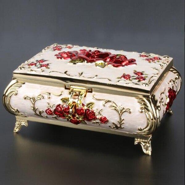 Size L Vintage Case Rose Carved Decor Fashion Metal Jewelry Box Multi Colors Enameled Necklace Pendant