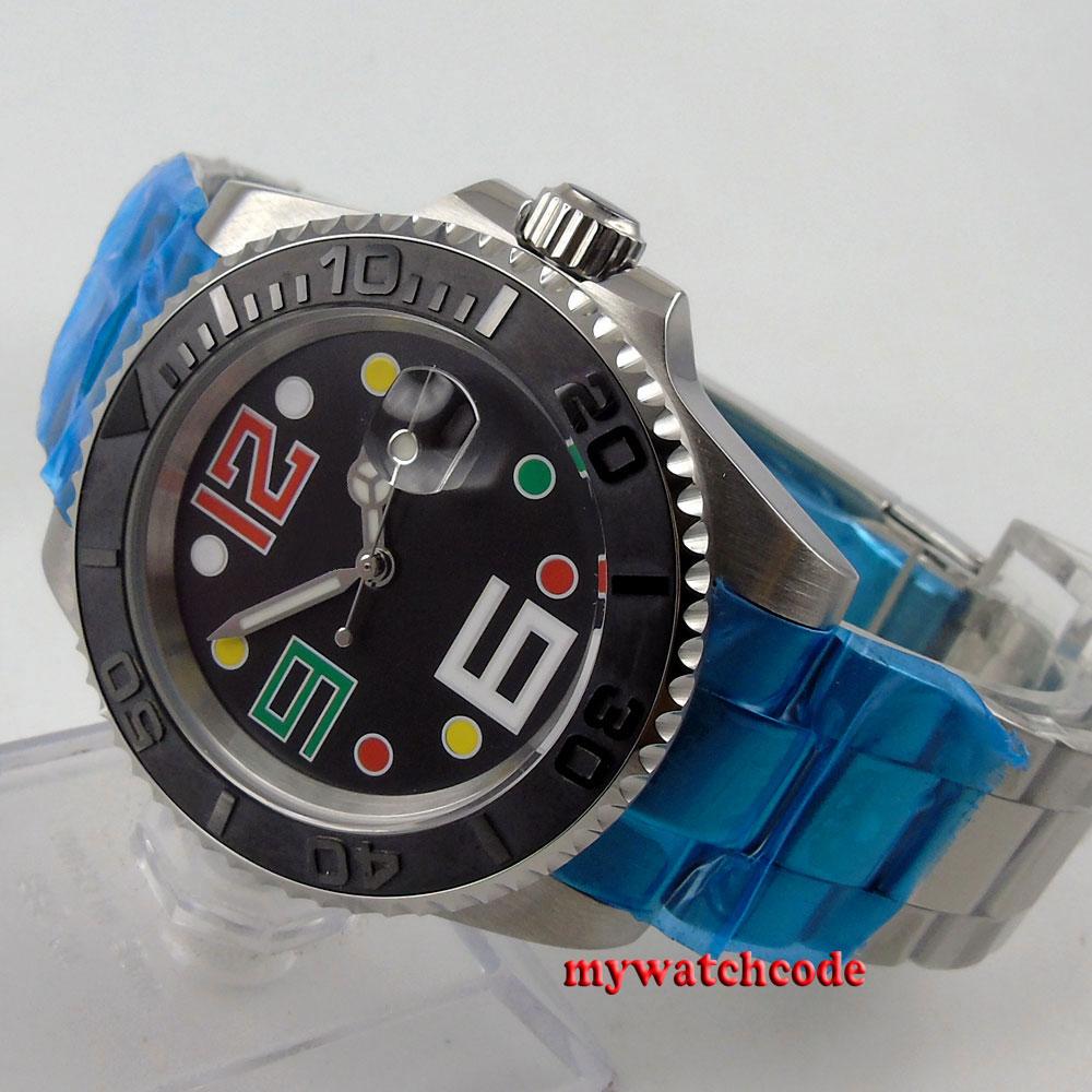 40mm bliger black dial sapphire glass ceramic bezel automatic mens watch 78 цена и фото