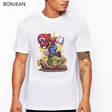Stranger Things Super Mario t shirt men fashion graphic Printed t-shirt homme Short Sleeve Casual Basic Tops funny Cool tshirt