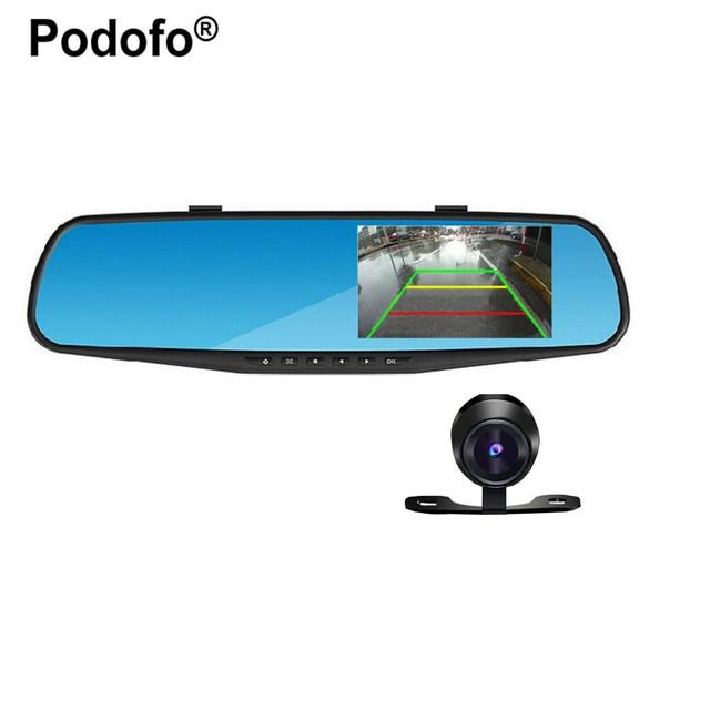 Podofo 4.3 дюймов IPS Экран автомобиля Зеркало заднего вида Full HD 1080 P автомобиля Камера парковка Ночное видение Видеорегистраторы для автомобилей Двойной объектив видео Регистраторы