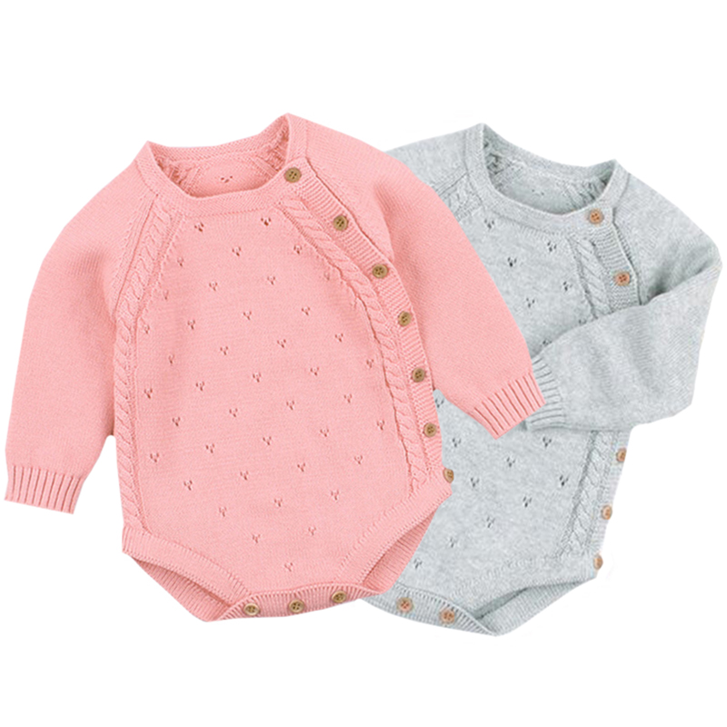 Spring Autumn Toddler Solid Knitted Bodysuit Fashion Newborn Girl Long Sleeve Jumpsuits Clothes Children Boys Costume