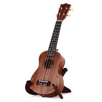 21 Inch Ukulele Sapele Soprano Four Strings 15 Frets Natural Color Hawaii Guitar Wood Musical Laser Engraving Instrument Brown