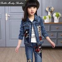 Children Clothing Spring Autumn Large Children S Fashion Two Piece Set Fashion Denim Children Casual Sequin
