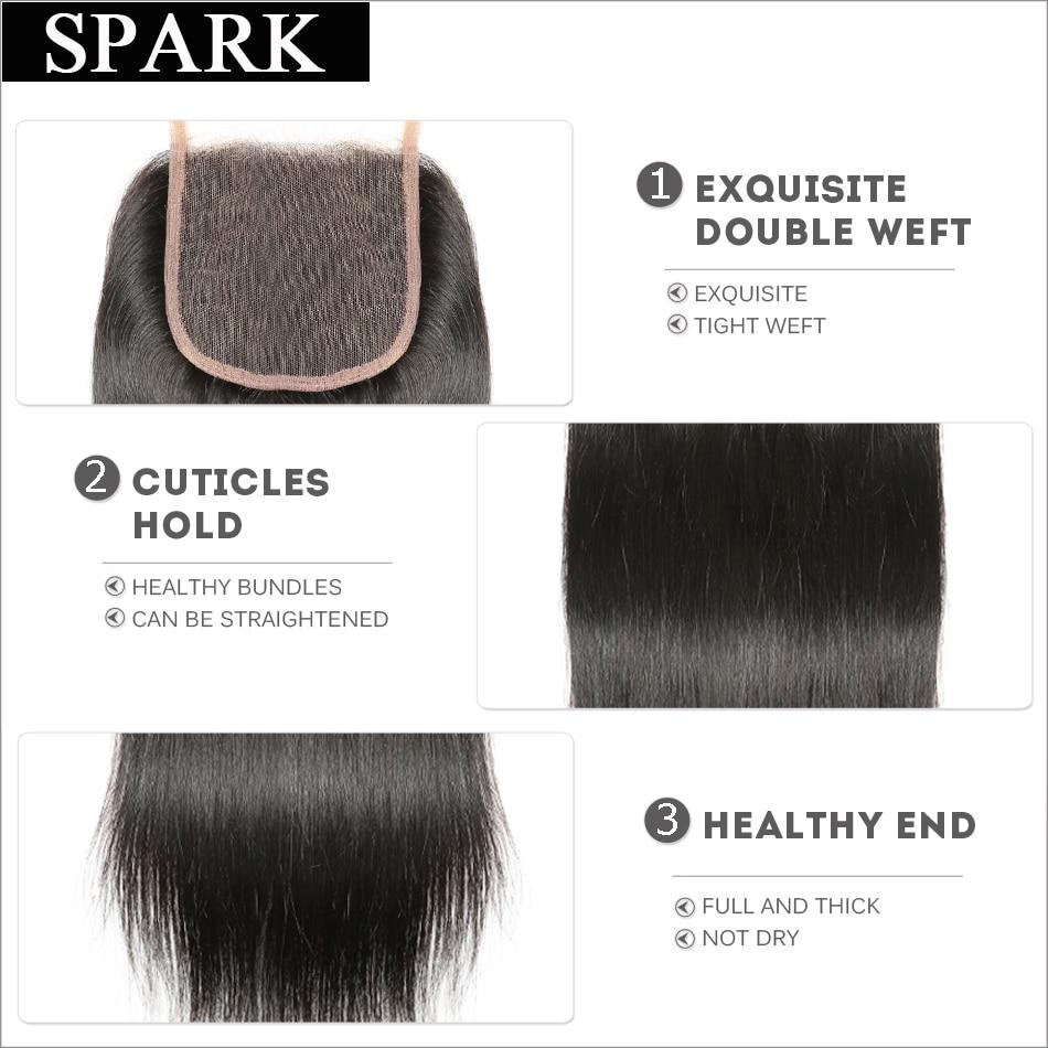 Spark բրազիլական ուղիղ մազերի 4x4 ժանրի - Մարդու մազերը (սև) - Լուսանկար 4