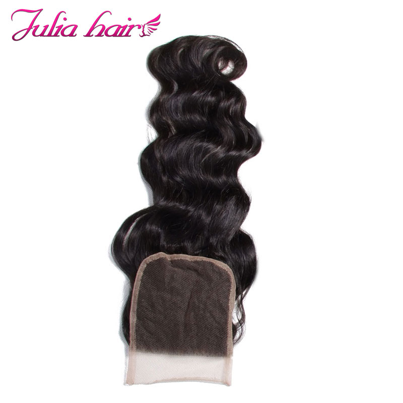 アリジュリア人毛ブラジルの自然な波の髪レースクロージャー無料パート自然な色 10 20 インチのヘアエクステンションの Remy  グループ上の ヘアエクステンション & ウィッグ からの クロージャー の中 2