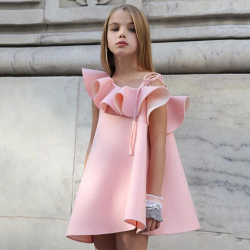 Kids Dresses for Girls Party Dresses Ruffles Sleeve Ball Gown One Off Shoulder Oblique Collar Clothes Pink Princess Girl Dress