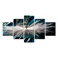Large 5 Pieces Canvas Wall Art Modern Industrial Technology Laser Cutting Machine Picture Print On Canvas For Factory Decoration
