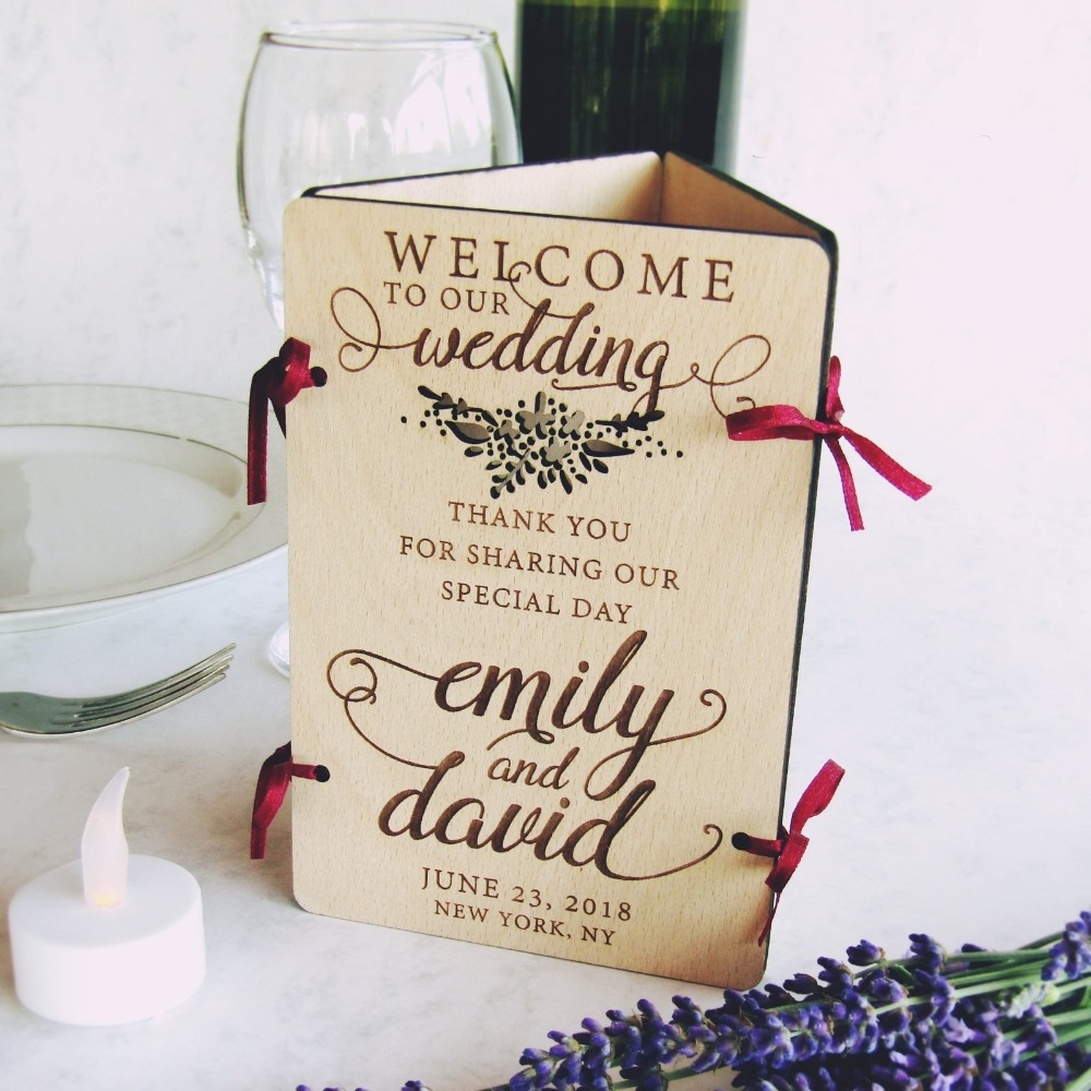 Custom Laser Cut Wood Wedding Table Decoration  Welcome Sign, Table Number, Menu & Led Candle  Reception, Flora