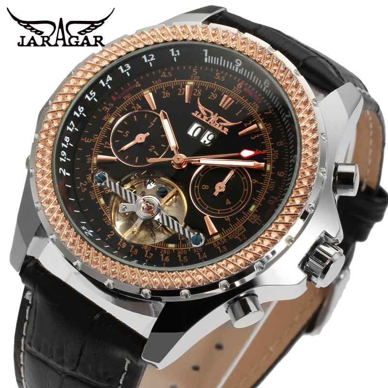 Jaragar Aviator Series Military Scale Dial Tourbillon Design Men Leather Watch Top Brand Luxury Automatic Mechanical Wristwatch jaragar top brand tourbillon automatic mechanical diamond dial clock wtaches men classic luxury business leather wristwatch uhr