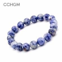 Женский браслет с синими бусинами в горох Круглый натуральным