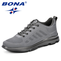 BONA 2018 Autumn New Arrivals Sneakers Mesh Breathable Sports Shoes Outdoor Male Walking Shoes Men Fly Knit Durable Jogging Shoe
