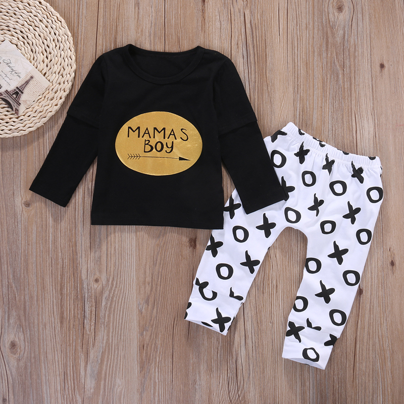 2pcs Newborn Baby Boys Clothes Set Gold Letter MAMAS BOY Outfit T-shirt Pants Kids Autumn Long Sleeve Tops Baby Boy Clothes Set 3