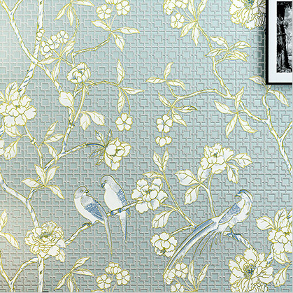 Chinese Retro Bird Wallpaper 3D Embossed Non-woven Wallpaper Roll Chinese Natural Mural Wall Paper Living Room Bedroom Wallpaper