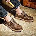 2016 Del Otoño Del Resorte Hombres de la Marca de Cuero Genuino Zapatos Casuales de La Moda Estilo británico de Encaje Hasta Zapatos Planos Eu 40-46 de Talla grande z441