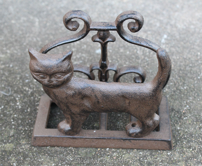 Business Card Holder Cat Cast iron Desk Accessory Business Name ...