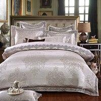 Color Plateado blanco Jacquard juegos de Cama de Lujo 4/6 Pcs Reina/Rey tamaño de encaje de algodón Mancha juego de Cama ropa de cama Funda Nórdica almohada