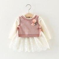 Vestido Infantil Baby Kids Long Sleeve Lace Ball Gown Tutu Dress Knitwear Waistcoat Two Pieces Dresses