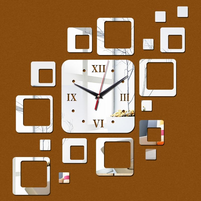 2015 venda direta promoção acrílico relógio de parede 17 quadrados de quartzo espelho moderno decoração diy adesivos freeshipping
