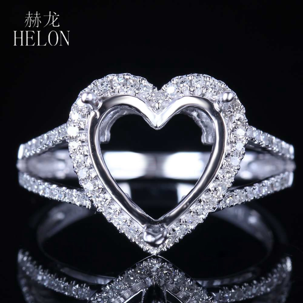 HELON Sterling Silver 925 Genuine Natural Diamonds Engagement Wedding Women Exquisite Jewelry Semi Mount Ring Heart Cut 10x10mm