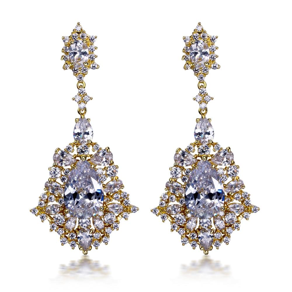 New Earrings for women big Drop Earring gold color with AAA CZ stone wedding earring fashion jewelry Free shipment