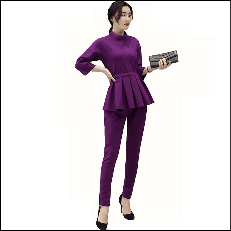 Women Casual Pant Suits 2016 Spring Brand New Ladies Half Sleeve Elegant 2 Piece Set Women