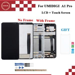 """Image 1 - Цветной для UMI Umidigi A1 Pro ЖК дисплей и сенсорный экран с рамкой 5,5 """"аксессуары для телефонов UMI Umidigi A1 Pro + пленка"""