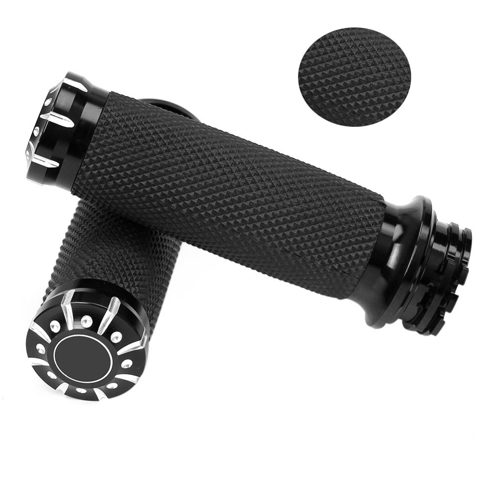 """Black 1/"""" Hand Grips Electronic Throttle Motorcycle Fit for Harley Touring Dyna"""
