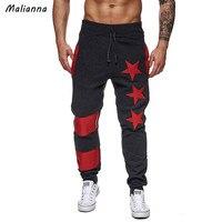 Malianna כוכב אלסטי מזדמן 2018 גברים סתיו פס מודפס מכנסיים גברים מכנסיים גבריים מכנסיים ספורט מכנסי טרנינג רצים GMS137