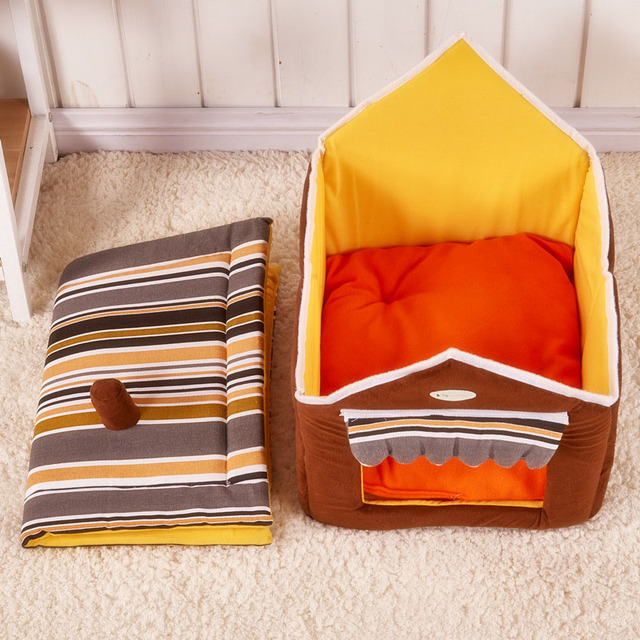 New Fashion Striped Removable Cover Mat Dog House Dog Beds For Small Medium Dogs Pet Products House Pet Beds for Cat 3
