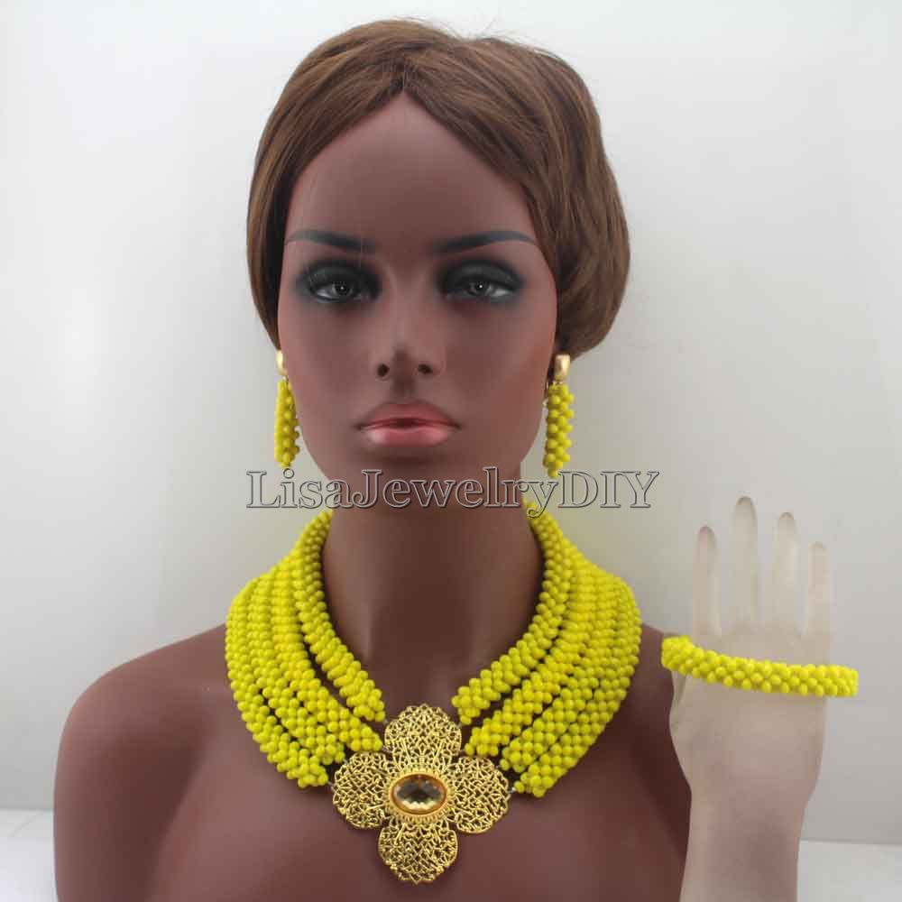 Fabulous Nigerian Crystal Beads Necklace Jewelry Set African Handmade Yellow Style Wedding Jewelry Set HD8040Fabulous Nigerian Crystal Beads Necklace Jewelry Set African Handmade Yellow Style Wedding Jewelry Set HD8040