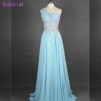Ánh sáng Màu Xanh Dài Prom Dresses Voan Đính Cườm Thạch One Shoulder Xem Thông Qua Chính Prom Gown Cao Chất Lượng On Sale