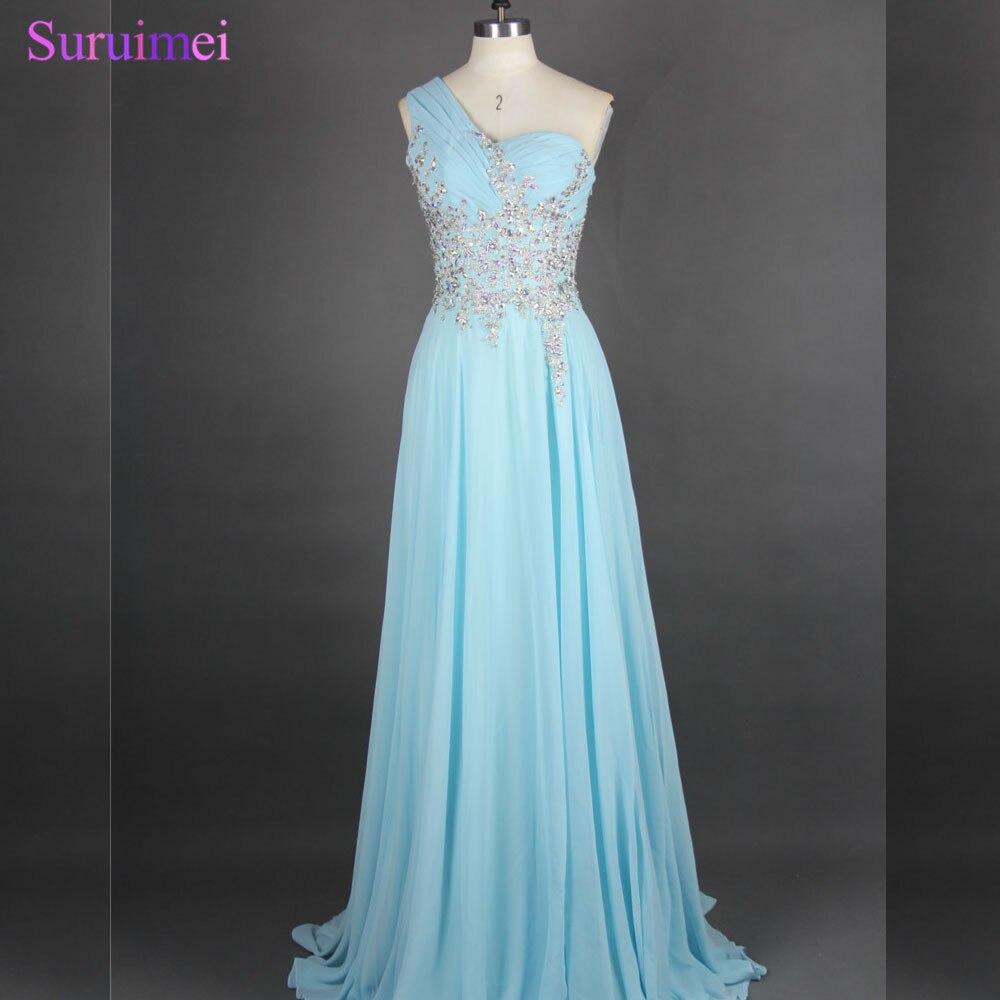 Bleu clair longues robes de bal en mousseline de soie perles strass une épaule voir à travers formelle robe de bal de haute qualité en vente