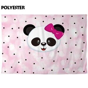 Image 2 - Funnytree fundo fotografia rosa dos desenhos animados, panda, bolinhas, crianças, aniversário, festa, backdrops, câmera, telefone fotográfico