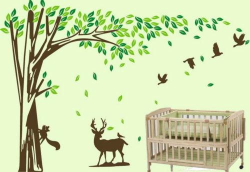 Grand écureuil cerf oiseau arbre vinyle stickers muraux enfants pépinière bébé décor 180 cm x 260 cm
