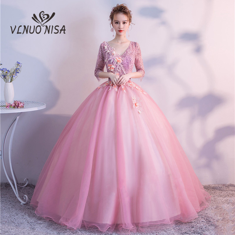 Real Photo 2018 High-end Vintage Ball Gown 3D Flower Pattern Exquisite Appliques Embroidery Evening Dress Marriage Performance