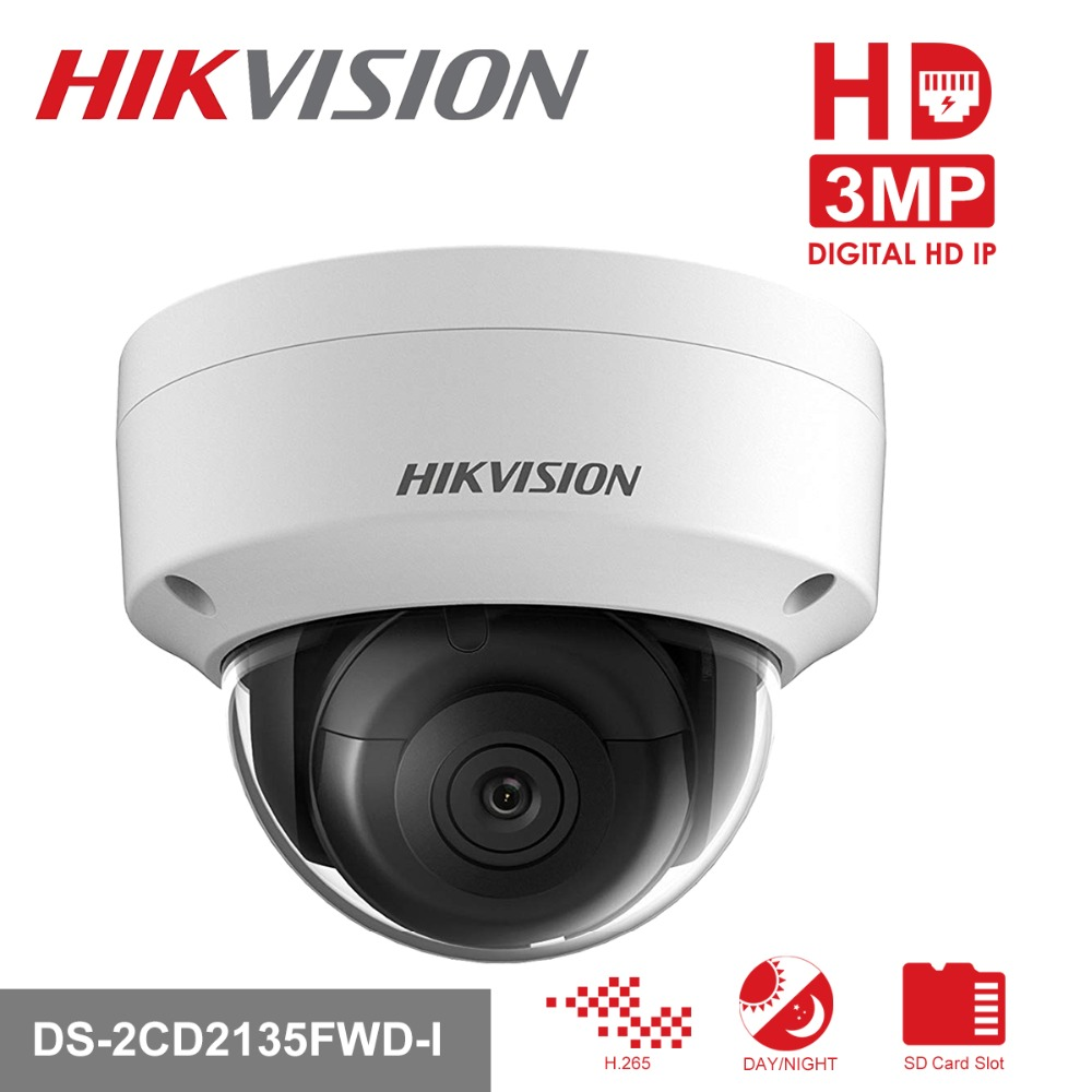 Hikvision PoE IP Camera H.265 DS-2CD2135FWD-I 3MP WDR Network CCTV Video Surveillance Camera Built-in SD Card Slot & Audio Port