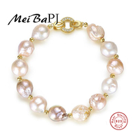 MeiBaPJ S925 Pure Silver Bracelet Electroplating Golden Baroque Natural Abnormity Pearl Blended Hand Ornament
