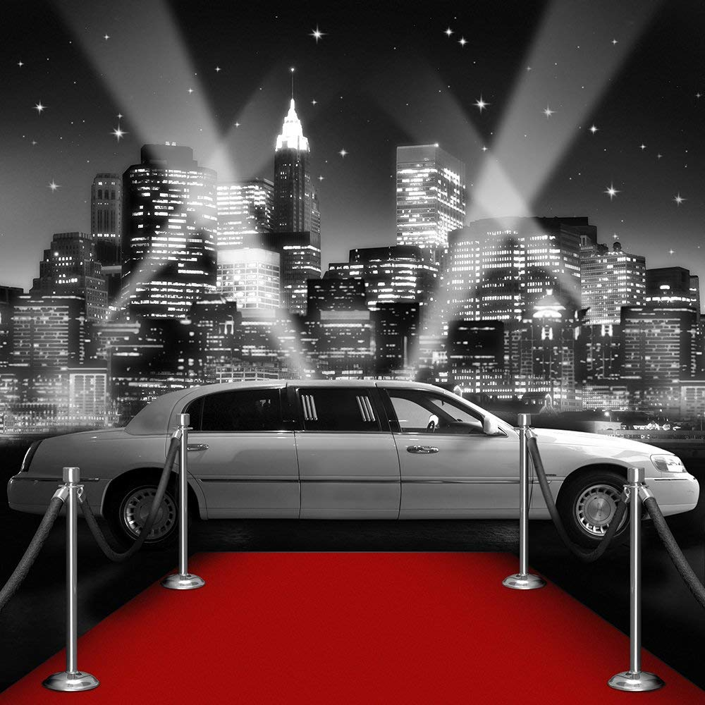 Star Attraction Black White vip Red Carpet city skyline car background Computer print party photo backdrop
