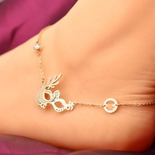Retro Mask Party Shinning Crystal Anklet Fine Jewelry Titanium Steel 18K Rose Gold Plated Valentine Gift