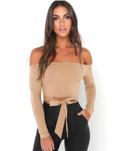T Spring New Slash Neck Strapless Long Sleeve T shirt Women Sexy Tube Top Fashion Lace Up Bow T shirt in T Shirts from Women 39 s Clothing
