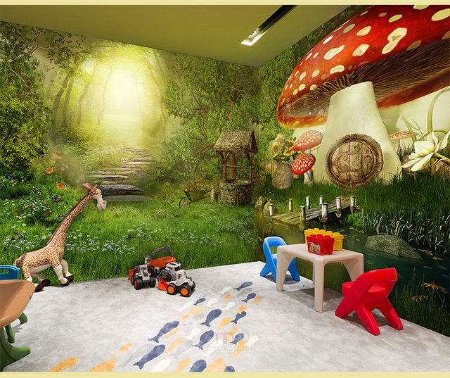 Fairy Tale Forest Background Guest Room Living Room Wallpaper Retro  Restaurant Ktv Bar Net Cafe Room Part 65