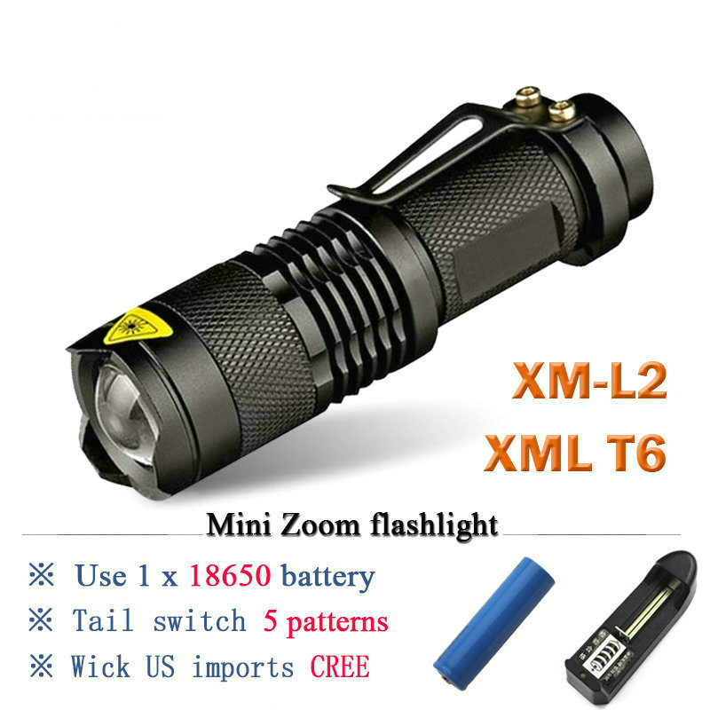 xm L2 most powerful zoom mini flashlight CREE XML- T6 Portable backpack torch flashlight 18650 charge waterproof hunting lantern