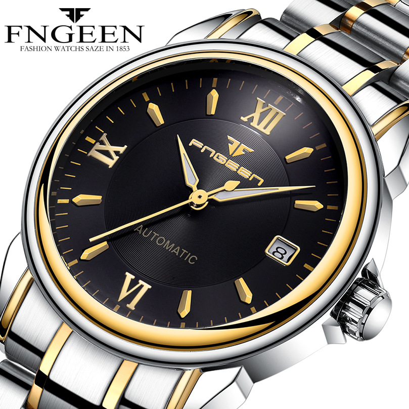 FNGEEN Full Automatic Watch Men Gold Mechanical Watches Waterproof Luminous Hands With Date Calendar montre automatique homme fngeen automatic watches waterproof leather rose gold mechanical watch men male clock luminous montre automatique homme relogio