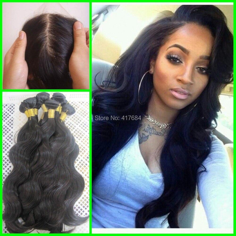 Peruvian Virgin Human Hair 8a Grade 3 Bundles And 1 Silk Base