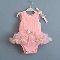 Летнее платье для новорожденных девочек; кружевные платья без рукавов с цветочным рисунком для выпускного вечера; вечерние платья и повязк...