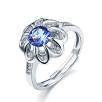 0 65ct Natural Blue Tanzanite 925 Sterling Silver Rings For Women Flower Shape Wedding Engagement Ring
